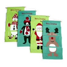 1pcs Christmas Santa Sack Deer Drawstring Canvas Santa Bag New Year Christmas Decorations For Home Stockings Gift Bag d5(China)
