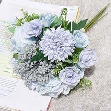 купить Silk Artificial Hydrangea Flowers Wedding Bride Holding Romantic Fake Flower Bouquet Party DIY Floral for Home Garden Decoration дешево
