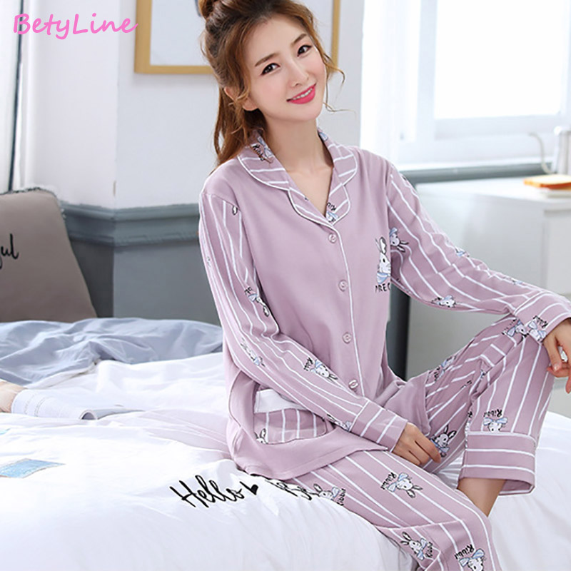Ajama Sets Women V Neck Pijama Mujer  Long Sleeve Sleepwear Autumn Cotton Pyjamas Femme Casual Pajamas Sets Two Piece Set
