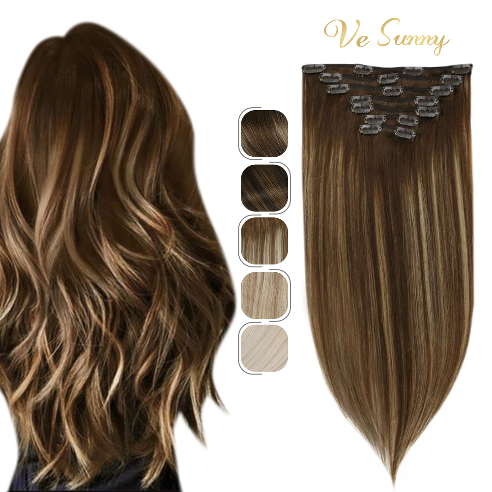 VeSunny Clip in Hair Extensions Human Hair Clip in Extensions Caramel Blonde Double Weft Clip in Brown Hair Extensions 7pcs