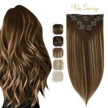 VeSunny – Extensions de cheveux naturels avec clips, couleur blond Caramel, brun, Double trame, 7 pièces