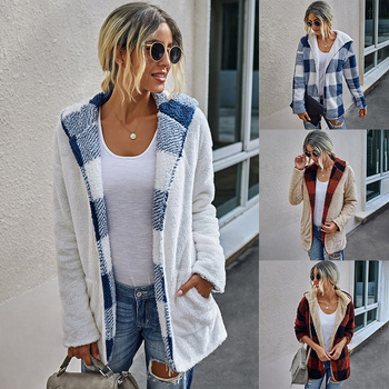 Long Sleeve Winter Women Coat Medium-Long Thicken Plaid Printed Pocket Hoodie Lady Overcoat Outerwear Hooded Female Outwear D30 drawstring waist letters embroidered multi pocket hooded long sleeves thicken coat for men