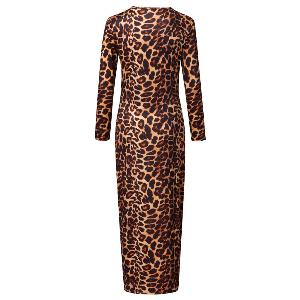 Leopard Print Bodycon Dress Round Neck Long Sleeve Fit Slim Sexy Dress Spring Autumn Lady High Stretchy Party Dresses 2021
