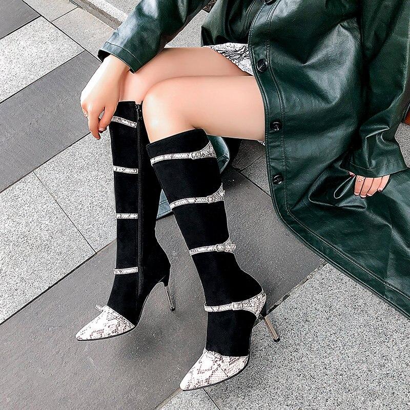 Daim Sexy peau de serpent impression Stiletto bottes femmes en cuir PU bottes de neige talons hauts bottes grande taille hiver genou chaussures concepteur 2019
