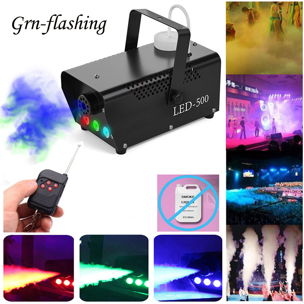 500W Colorful Smoke Machine Stage Effect Fog Light EU 220V US 110V Plug With Remote LED Disco DJ Party Christmas Fogger Lamp
