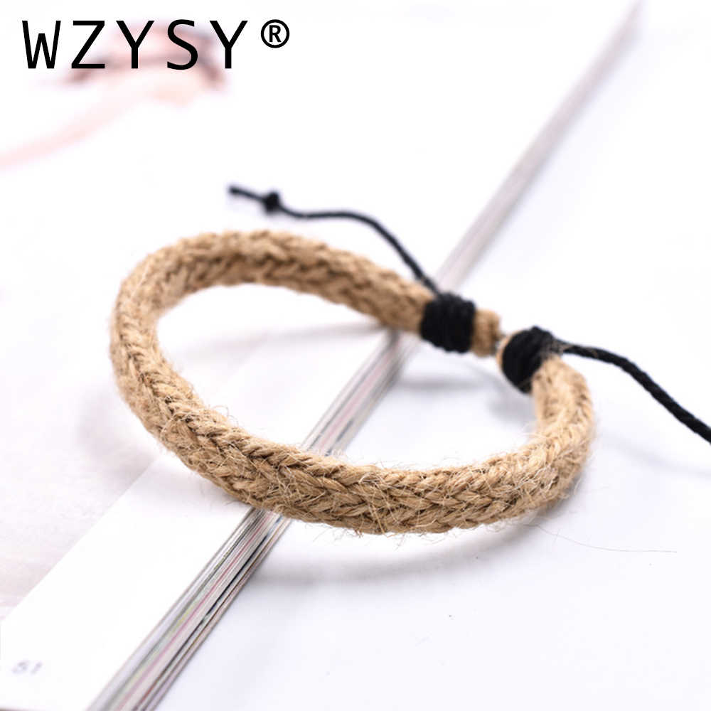 Bracelet Vintage tissé à la main de style Rural bracelet en corde de chanvre réglable accessoires de Bracelet personnalisés pour hommes et femmes