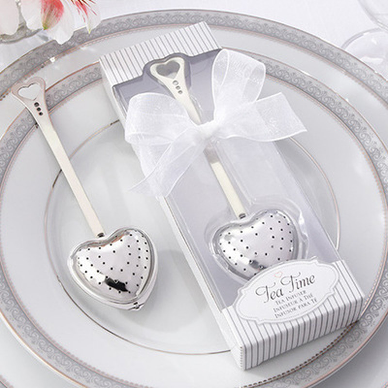 1 Pc Heart Design Stainless Steel Spoon Tea Infuser Filter Wedding Souvenir Bridal Shower Favor Gift