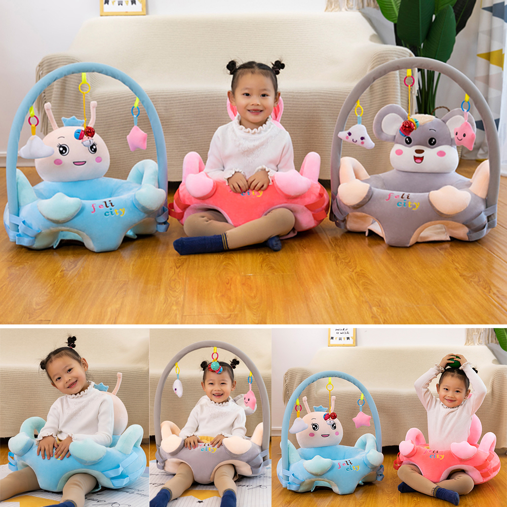 Cute Baby Plush Chair Sofa Cartoon Animal Infant Baby Support Seat Chair Plush Toy Gift For Learning Sit Without Cotton Filler
