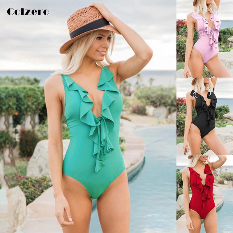 2019 Cor Sólida Um Pedaço Mulheres de Biquíni Plissado Ombro Swimwear Profundo-V Maiô Folho Verão Brasileiro Biquinis Maiô