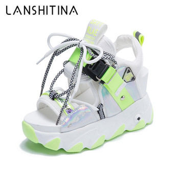 Women Summer Mix Color New Chunky Platform Sandals Hollow Out 9CM Wedge Heels Beach Sandals Woman Thick Bottom Gladiator Shoes women new design white leather lace up mix color ball design thick heel sandals gladiator sandals ladies beach sandals