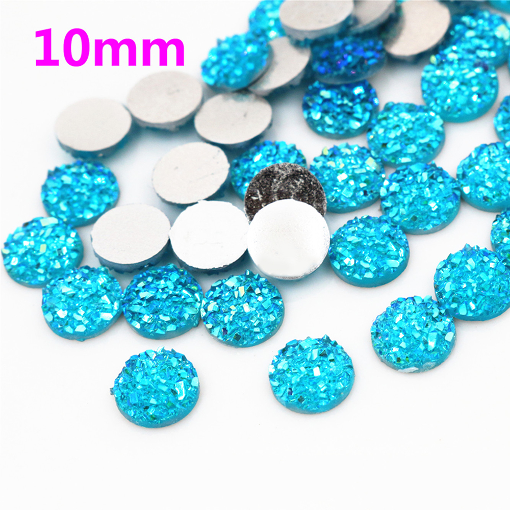 New Fashion 10mm 40pcs Water Blue AB Colors Natural Ore Style Flat Back Resin Cabochons For Bracelet Earrings Accessories-G7-02