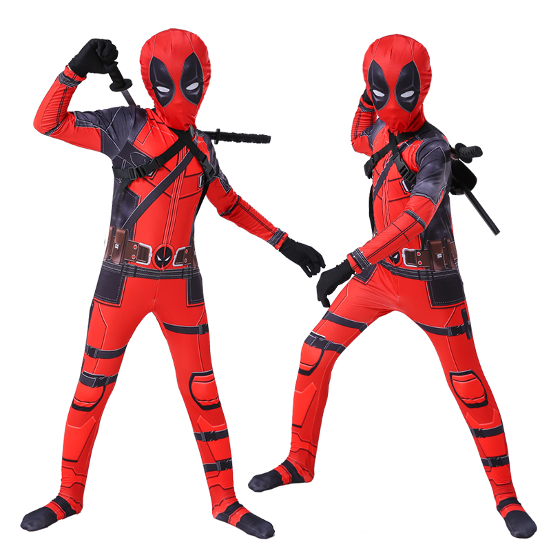Kids Deadpool Cosplay Costume Halloween Costumes Red Disfraz Deadpool Jumpsuit With Mask For Kids Boys Girls
