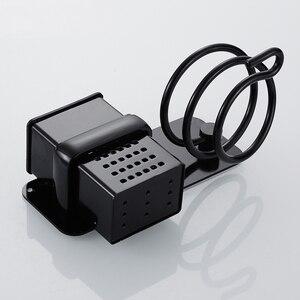 Image 5 - เครื่องเป่าผมผู้ถือถ้วยครัวเรือน Wall Mount ห้องน้ำอุปกรณ์เสริมเครื่องเป่าผมชั้นวางโลหะสีดำเครื่องเป่าผม Rack EL190