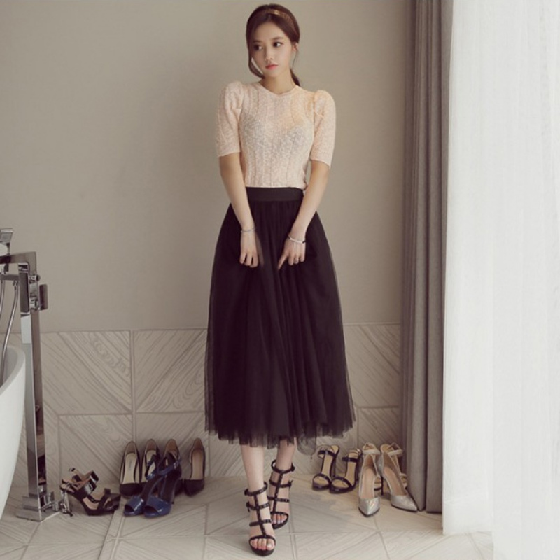 Women Chiffon Pleated Skirt Ball Gown Tulle Layers  Skrits Soft Tulle Bridesmaid Tutu Skirt Ball Gown Mid-Calf Length