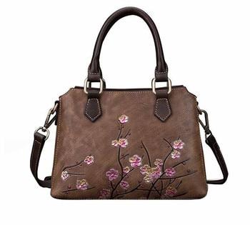 Genuine Leather Single Shoulder Bags First Layer Cowhide Cross Body Floral Embossed Retro Messenger Women Bag Female Handbag