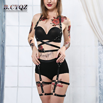 Leather Harness Belt Body Harness For Women 2 Pieces Garter Belt Suspender Sexy Women Harness Body Bondage Cage Leather Lingerie underwear gothic women s sexy fashion lingerie cage bra 90 s cupless lingerie women body harness belt sword belt garter harness