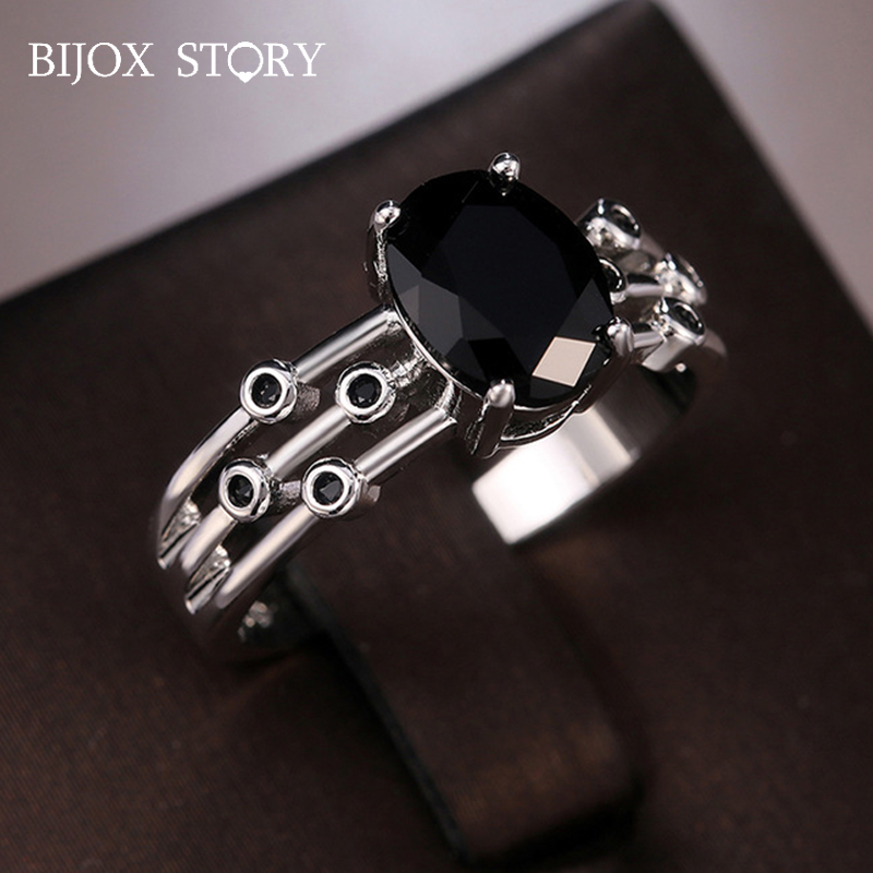 BIJOX STORY Vintage Ring Silver 925 with 7*9mm Oval Shaped Obsidian Gemstone Rings for Female Wedding Anniversary Gift Wholesale