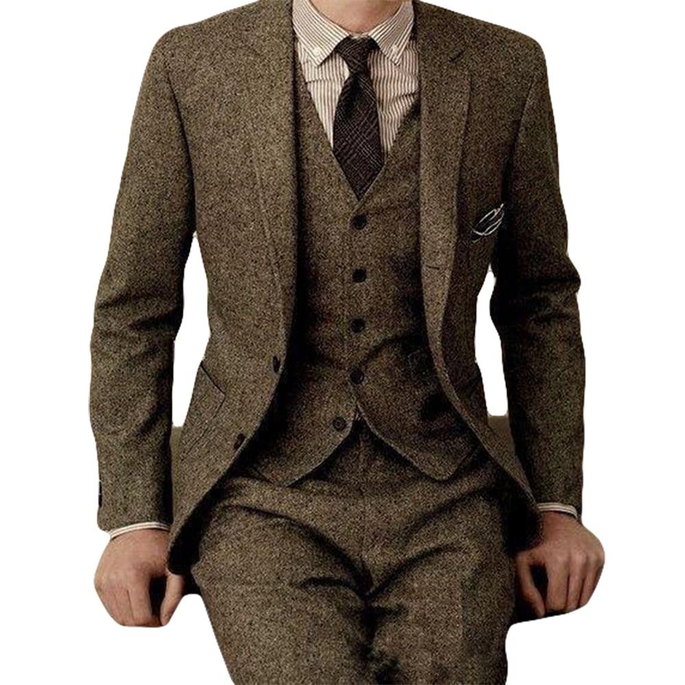 Latest Coat Pant Designs Brand Brown Tweed Suit Men Set Slim Fit Custom Wedding Suits for Men 3 Piece farm wood Blazer Tuxedo 1
