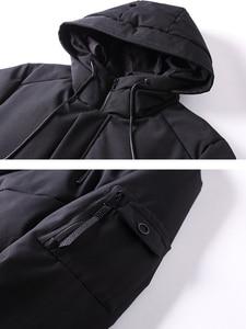 Image 5 - 2018 grosso inverno homens para baixo jaqueta marca roupas com capuz pato quente para baixo casaco masculino comprimento jaqueta preta