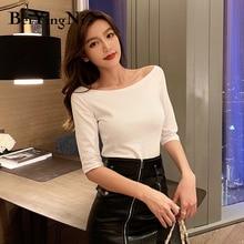 Beiyingni Slash Neck Women T-shirt Cotton Half Sleeve Harajuku Slim Casual T Shirt Female Elastic Plain Tshirts Woman Tee Tops