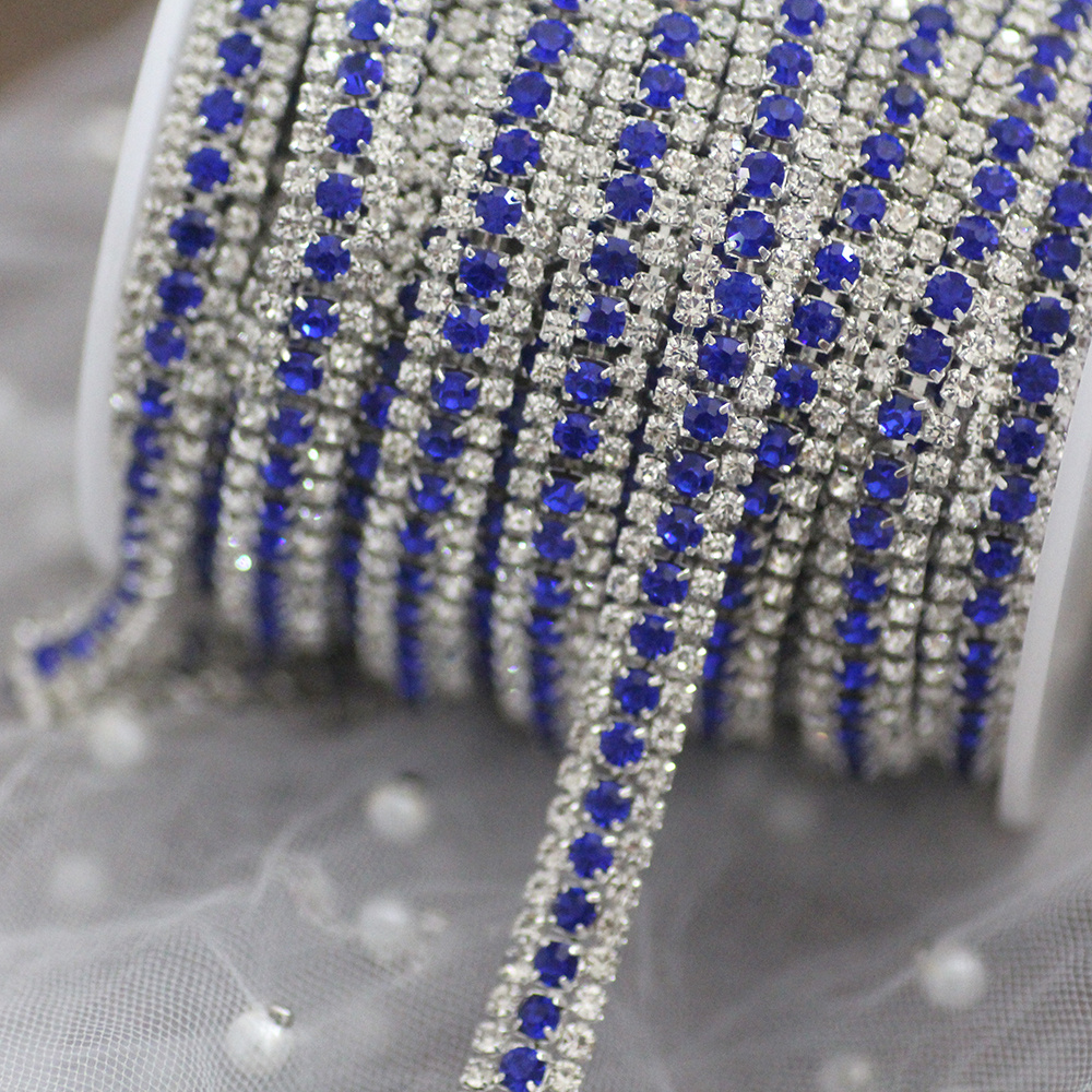 3 Rows Colorful rhinestone cup chain sew on rhinestone trim Silver or Gold base DIY clothing bags Shoes red blue sew on stones