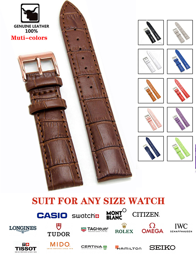 Watchbands Strap Buckle-Band Wrist-Belt Steel-Pin Bracelet--Tool High-Quality Genuine-Leather