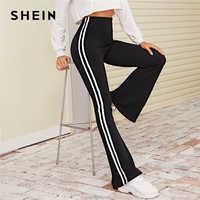 Shein preto listrado lado alargamento perna elástica calças femininas bottoms 2019 outono ativo wear cintura alta senhoras casual calças compridas