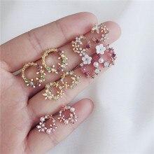 Новейший дизайн Брендовое кольцо для ушей Цветные Цветочные серьги женские простые серьги для женщин