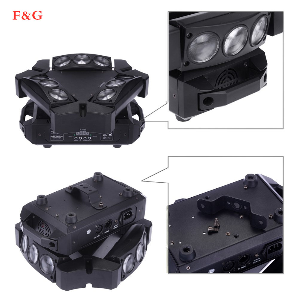 Nieuwe Collectie MINI LED 9x10W LED Spider Licht RGBW 16/48CH DMX Podium Verlichting Dj LED Spider Moving Head Beam Licht