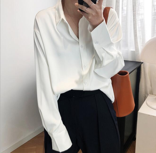 2020 spring and summer clothes light-colored maa1 solid color satin top satin chiffon shirt women kW9988-01