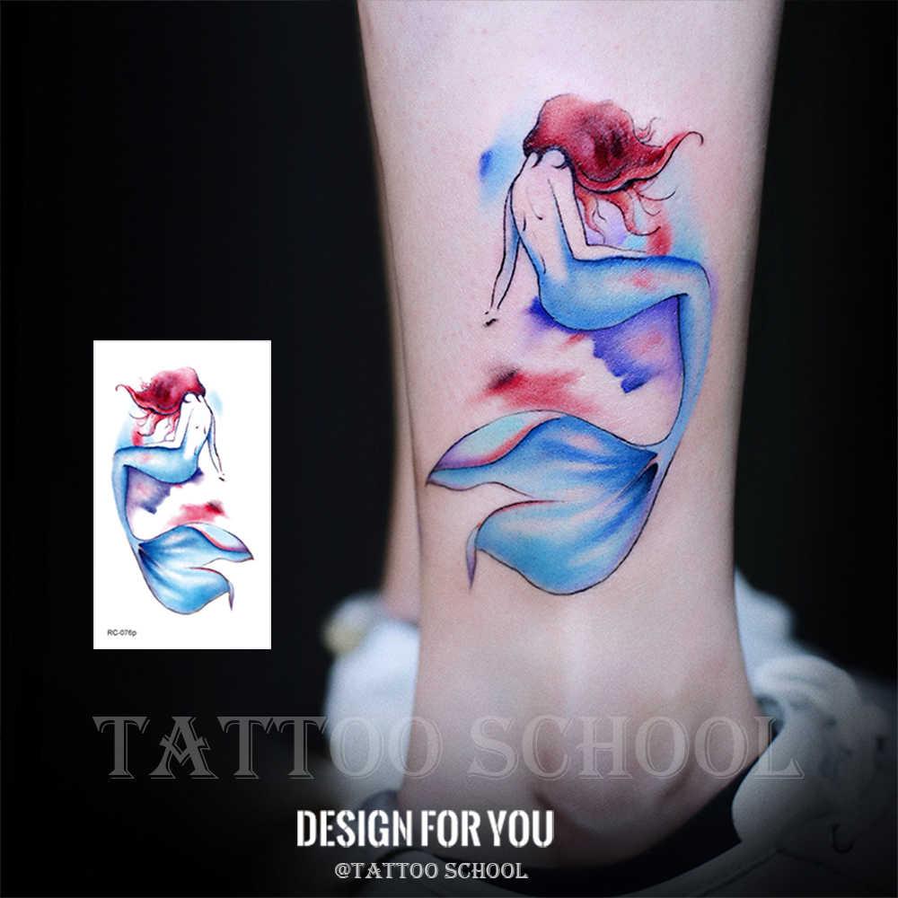 Rocooart 水彩マーメイド一時的なタトゥーステッカータトゥー防水女性タトゥー女性のボディアートホットデザイン