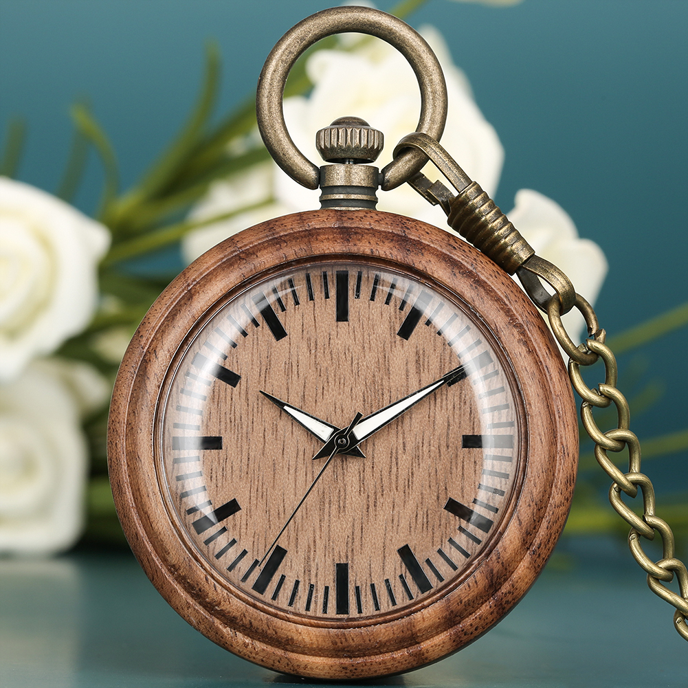 Wooden Pocket Watch Lightweight Brown Quartz Pocket Watches Green Dial Analog Display Hanging Chain Pendant Clock Men Women
