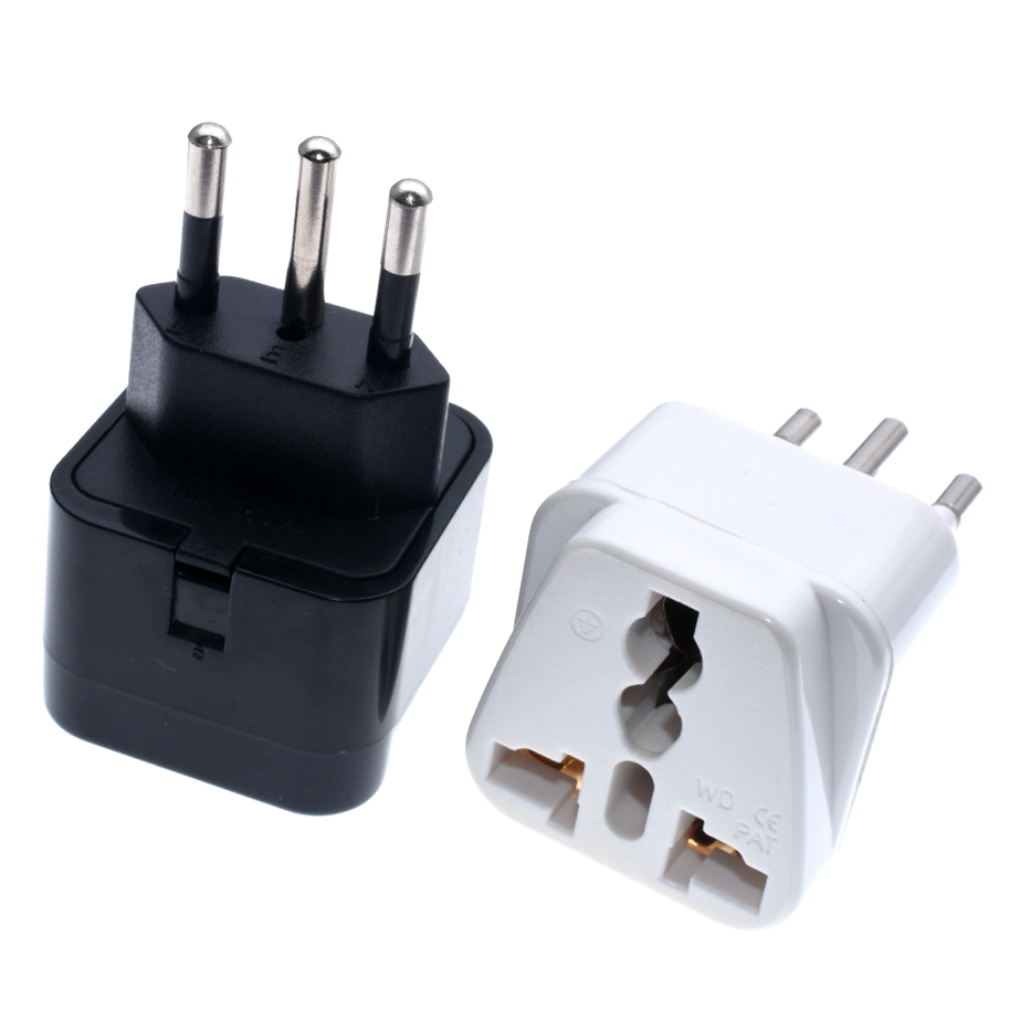 <font><b>3pin</b></font> Brazil Brazilian AC Power <font><b>Plug</b></font> <font><b>UK</b></font>/US/EU To Brazil Brasil Socket Travel Power Adapter <font><b>Plug</b></font> 3 Pin Converter Type N <font><b>Plug</b></font> image