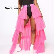 Женские сетчатые юбки с высокой талией зонтиком многослойные