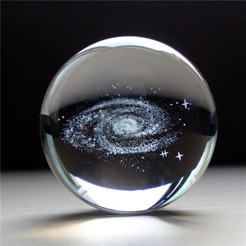 3D galaxie système solaire boule de cristal gravure Laser planètes boule de verre Globe lune 60/70/80mm cristal sphère cadeau décor ornements