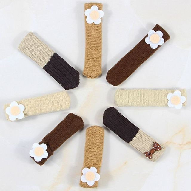 1Pc Cute Flower Applique Double Layer Knit Table Chair Foot Leg Cover Protector Cuffed Sock Sleeve Stretchy Non-Slip Wear 4