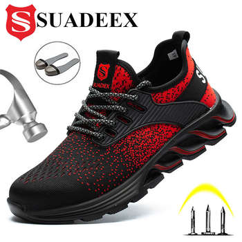 SUADEEX Safety Shoes for Men Women Steel Toe Sneakers Indestructible Work Shoes Lightweight Breathable Composite Toe EUR 37-48