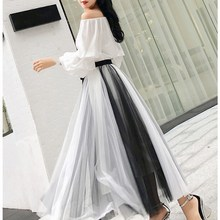 купить Women White Off Shoulder Shirt   A-Line Mesh Skirts Suits Striped Two-Piece Girls Long Skirt Set по цене 1668.66 рублей