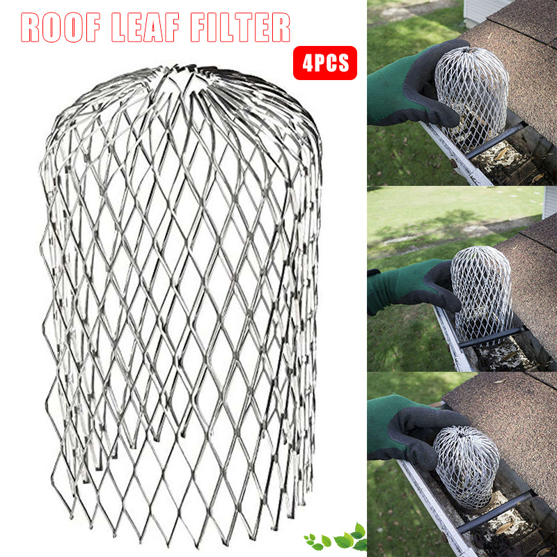 4Pcs Gutter Guard Downspouts Filter Strainer Preventing Leaf Debris Branches Roof Moss From Clogging The Pipes S7