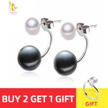 NYMPH Natural Pearl Stud Earrings Jewelry S925 Sterling Silver Genuine White Black Double Pearl Earrings Party [E205](China)