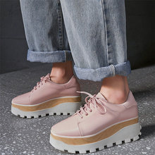 Casual Shoes Women Lace Up Genuine Leather High Heel Pumps Shoes Female Wedge Platform Square Toe Fashion Sneakers Punk Creepers shidiweike new women platform oxfords brogue flats shoes suede leather lace up square toe luxury brand red black creepers b490