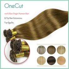 Natural Straight Raw Virgin Nail U Tip Hair Extensions Pure Color Prebonded Human Hair Extensions Keratin Capsules Fusion Hair