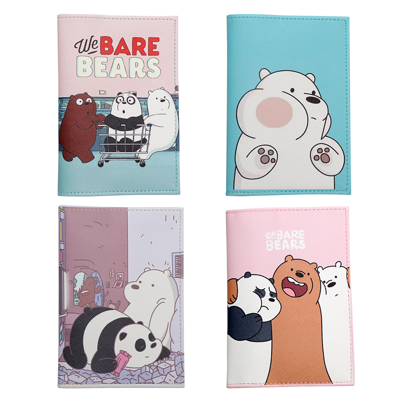 Kawaii Cartoon Bears Pattern Passport Holder Credit Card Wallet We Bare Bears Traveling Abroad Universal Leather Passport Covers