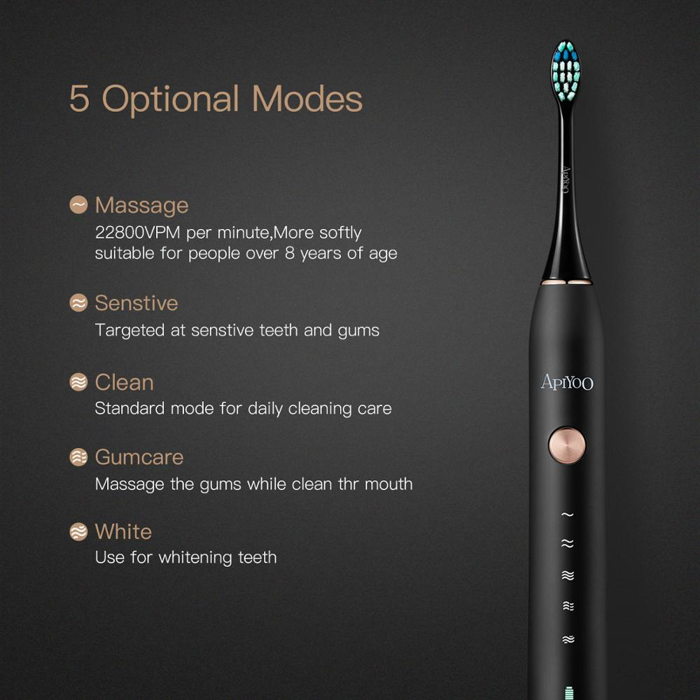 P7 Rechargeable Apiyoo Electric Toothbrush Sonic Toothbrush 5 Mode Adult Timer IPX7 Waterproof Automatic Ultrasonic Brush