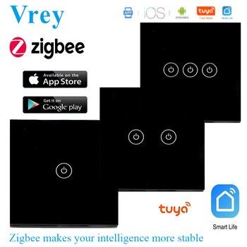 La UE Zigbee Interruptor táctil de casa inteligente interruptor luz WiFi interruptor cero FireWire Control de Google y Alexa Control por voz de Control