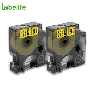 Labelife 2Pcs 18052 Black on Yellow 6mm for DYMO Wire Marker Rhino Heat Shrink Tubes Tape Cassette S0718270 for PRO 3000 4200(China)