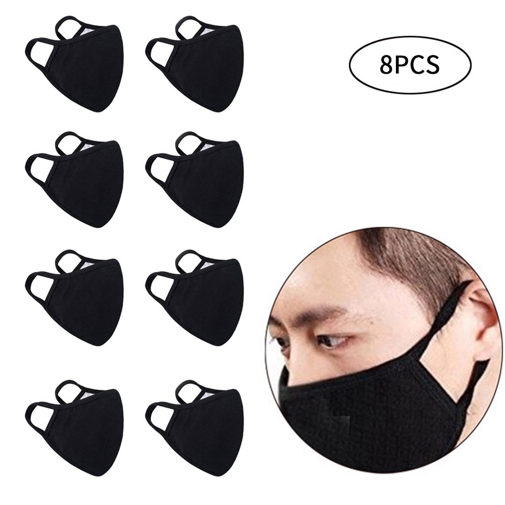 #H30 8PCS Unisex Black Cotton Mask Simple Masque Cycling Breathable Washable Mouth Face Mask Warm Masks Daily