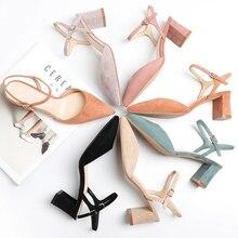 Женская обувь; коллекция 2020 года; женские босоножки из флока на высоком квадратном каблуке с ремешками на лодыжках; летние пикантные элегантные женские модельные туфли лодочки с острым носком для офиса; Новинка