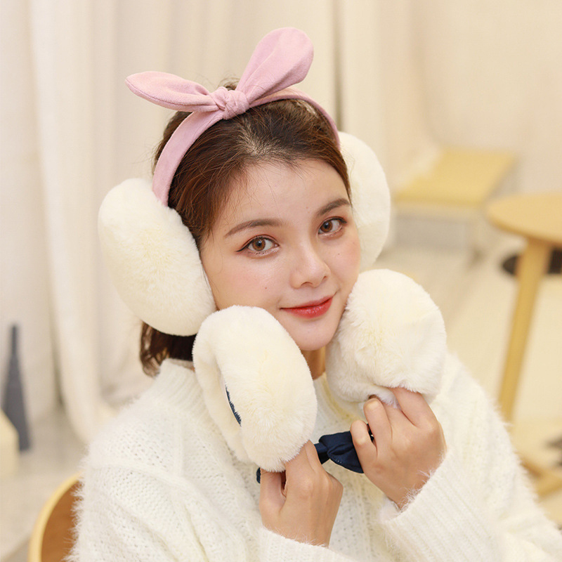 Cute Faux Fur Folding Winter Earmuffs Girls Suede Bow Soft Plush Fur Headphones Women Solid Color Ear Cover Warm Headphones Hot