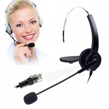 Noise Cancelling Telephone Headset with Mic for Call Center Hands Free Monaural Headset Rj9 With Adapter for Headset Telephones(China)
